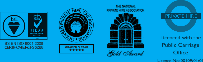 BSI, Private Hire Car Association, The National Private Hire Association and Public Carriage Office Logos